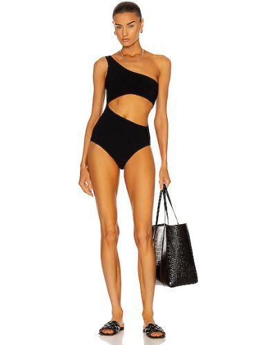 Czarny strój kąpielowy z haftem z nylonu Magda Butrym