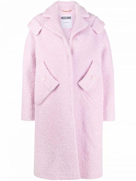 Розовое пальто с воротником Moschino