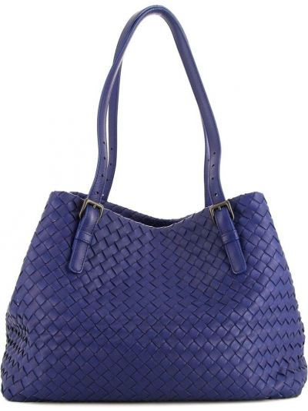 Кожаная синяя сумка на плечо Bottega Veneta Pre-owned