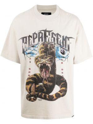 Beżowa T-shirt z nadrukiem bawełniana Represent