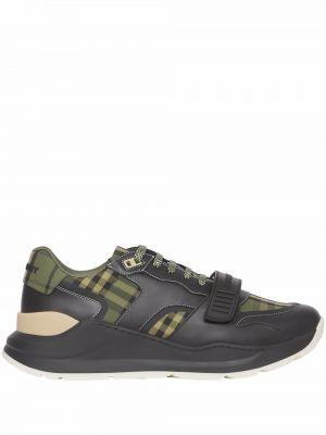 Кожаные кроссовки - зеленые Burberry