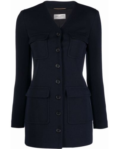 Приталенное шерстяное черное длинное пальто Saint Laurent