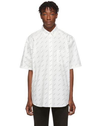 Biały koszula z krótkim rękawem z kołnierzem z kieszeniami z łatami Balenciaga