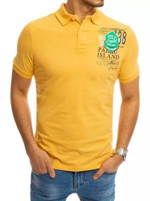 T-shirt z printem - żółta Dstreet
