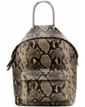 Кожаный рюкзак бежевый на молнии Dheygere