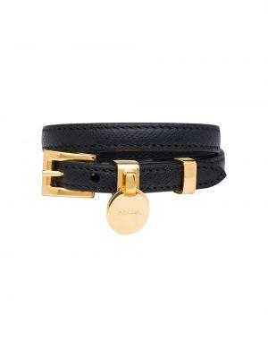 Czarna złota bransoletka ze złota klamry Prada