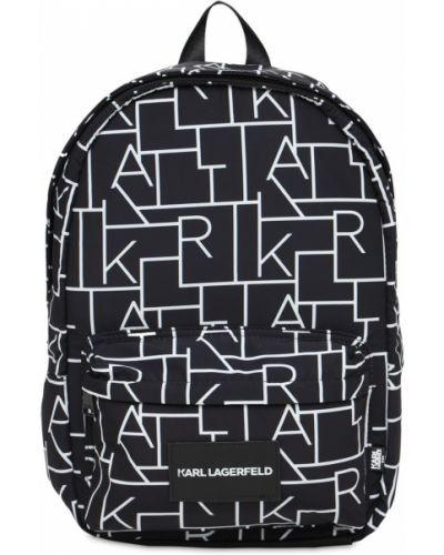 Czarny plecak z siateczką z nylonu Karl Lagerfeld