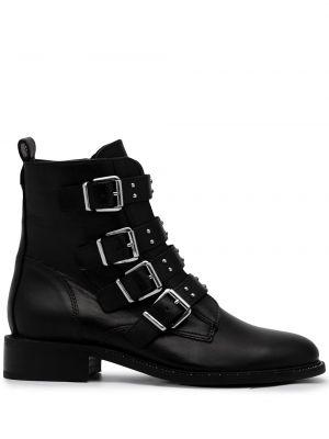 Czarne ankle boots skorzane z klamrą Carvela