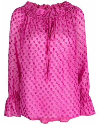 Розовая блузка в горошек с длинными рукавами Lautre Chose