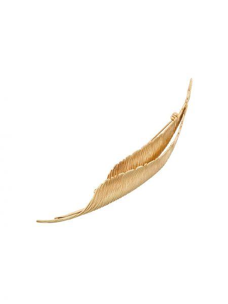Broszka ze złota z piórami Christian Dior Pre-owned
