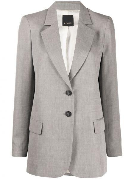 Однобортный серый пиджак с карманами Pinko