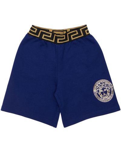 Bawełna niebieski szorty na gumce Versace