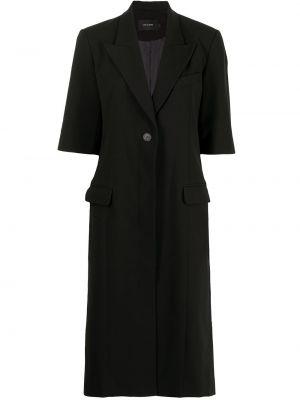 Шерстяное черное пальто классическое с карманами Low Classic