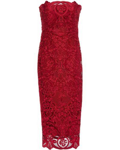 Кружевное платье миди - малиновое Badgley Mischka