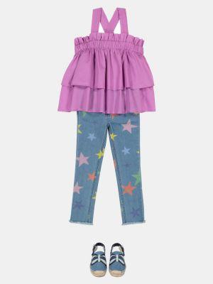 Bawełna bawełna fioletowy top Il Gufo