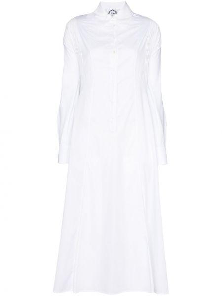 Хлопковое белое платье миди на пуговицах с воротником Evi Grintela