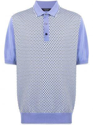 Шелковая синяя рубашка с короткими рукавами Stefano Ricci