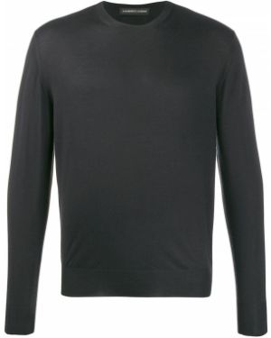 Черный кашемировый пуловер свободного кроя Lamberto Losani