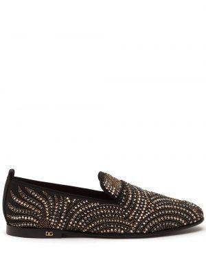 Bawełna czarny kapcie na pięcie z prawdziwej skóry Dolce And Gabbana