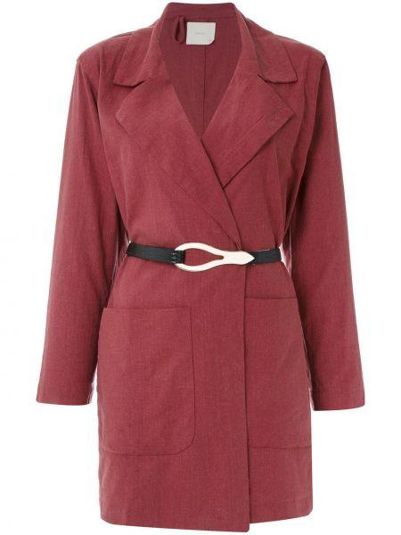 Коралловое прямое длинное пальто с поясом Framed