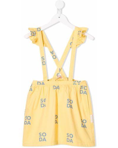Хлопковая желтая юбка с оборками без застежки Tiny Cottons