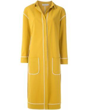 Желтое пальто классическое с капюшоном с воротником Mara Mac
