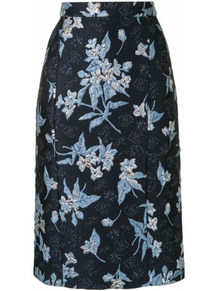 Шелковая синяя с завышенной талией юбка карандаш на молнии Delpozo
