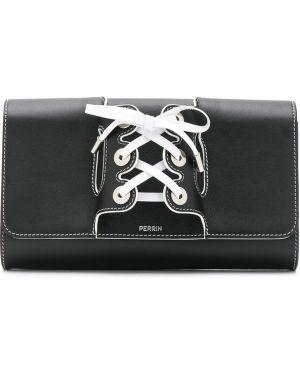 С ремешком черная кожаная сумка металлическая на шнуровке Perrin Paris