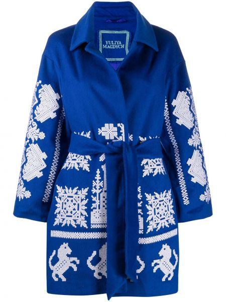 Шерстяное пальто - синее Yuliya Magdych