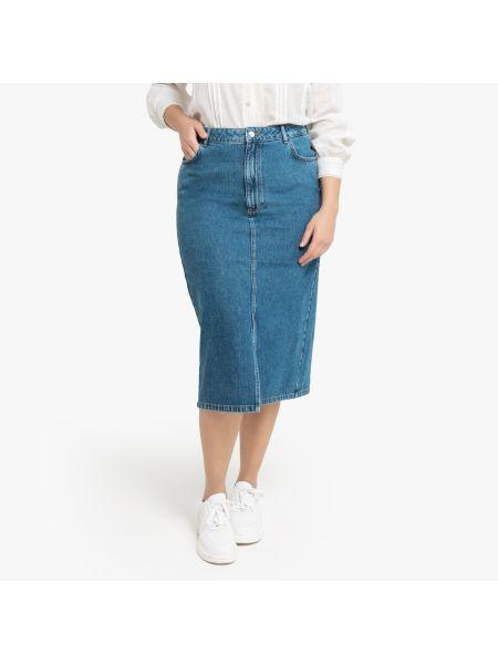 Юбка миди джинсовая прямая La Redoute