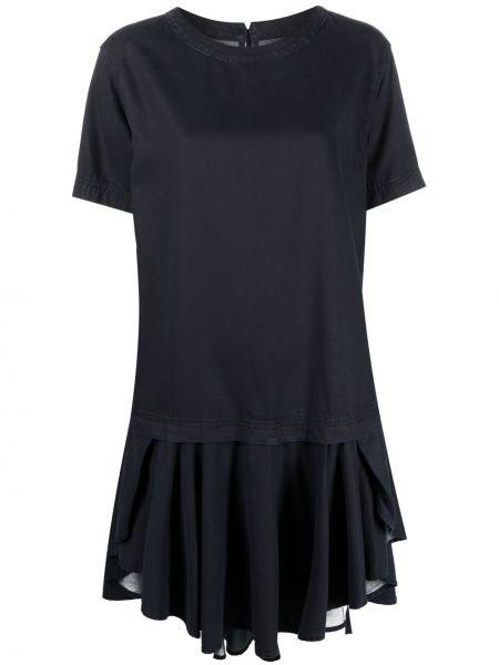 Синее платье мини с вырезом с короткими рукавами Diesel