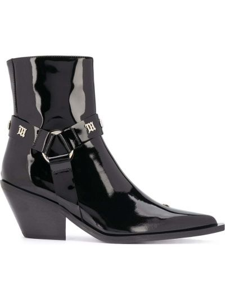 Czarny buty na pięcie z ostrym nosem na pięcie z prawdziwej skóry Misbhv