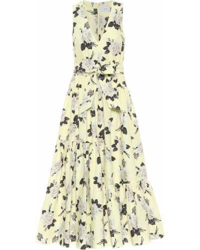 Ватное хлопковое желтое платье миди Erdem