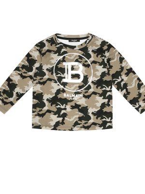 Bluza z logo biały Balmain Kids