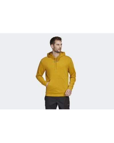 Żółta bluza kangurka z kapturem bawełniana Adidas