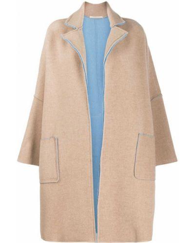Коралловое шерстяное длинное пальто с опушкой Ermanno Gallamini