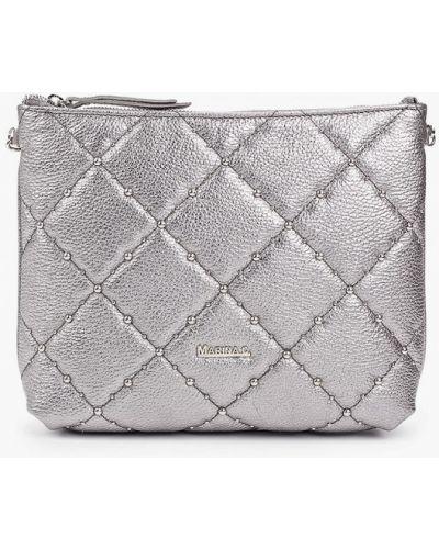 Серебряная сумка через плечо из натуральной кожи Marina Creazioni