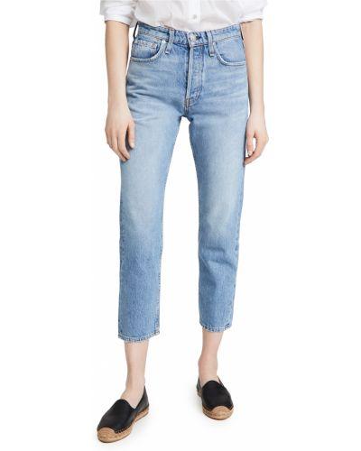 Niebieskie jeansy z wysokim stanem bawełniane Rag & Bone