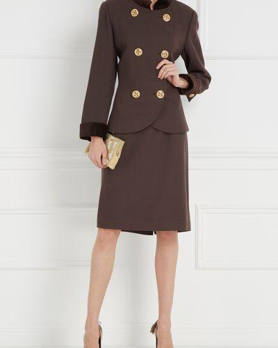 Костюм из плотной ткани коричневый Albert Nipon Vintage