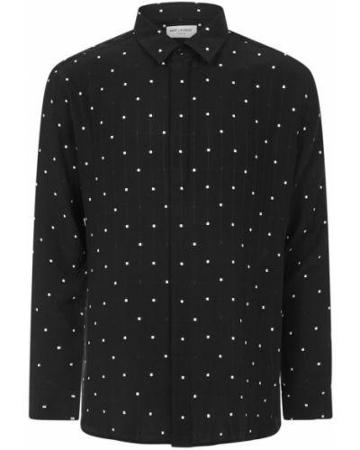Czarna koszula w paski z haftem Saint Laurent