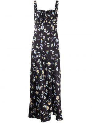 Платье макси в цветочный принт - черное Nicholas