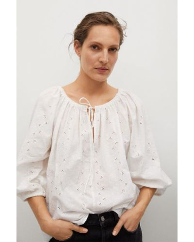 Bluzka bawełniana z haftem Mango