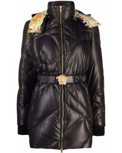 Czarny płaszcz puchowy z kapturem Versace