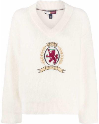 Шерстяной вязаный белый вязаный джемпер с вырезом Hilfiger Collection