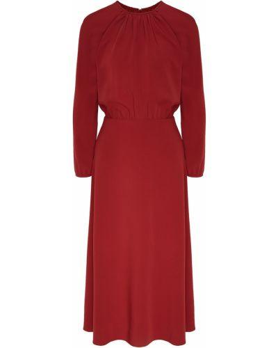 Приталенное бордовое платье миди с вырезом круглое Laroom