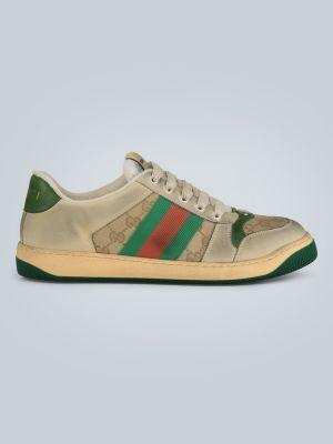 Кожаные кроссовки - белые Gucci