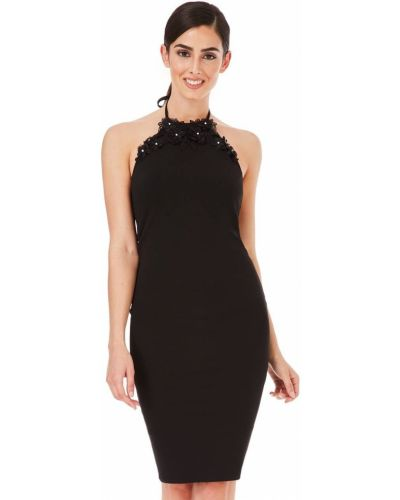 Черное вечернее платье с открытой спиной с вышивкой City Goddess