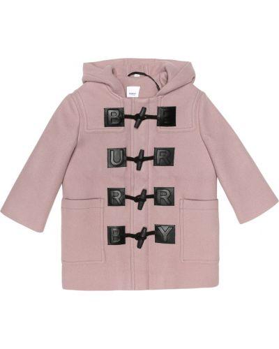 Zimowy płaszcz wełniany skórzany Burberry Kids