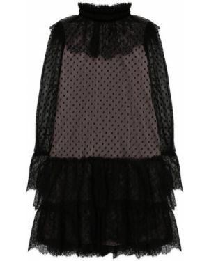 Черное бархатное платье с рукавами с оборками с подкладкой Alberta Ferretti Junior