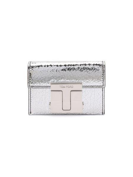 Кожаный серебряный кожаный кошелек Tom Ford
